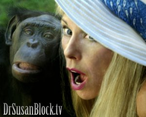Bonobo Lana and Your DrSuzy.Tv Host Dr. Susan Block at the San Diego Zoo. Photo: Vincent Amoreux