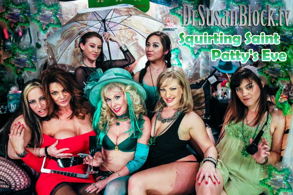 Last year's Squirting St. Patty's Eve on DrSuzy.Tv with Deauxma and Vicky Vixen.  Photo:  JuxLii